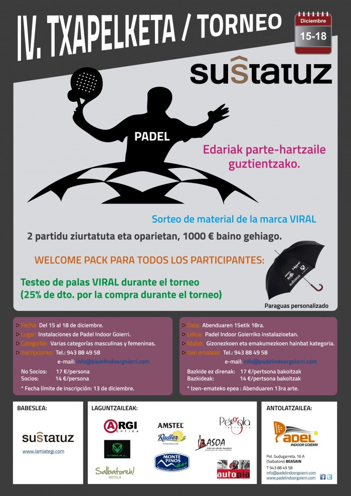 IV. Torneo Padel Indoor Goierri - SUSTATUZ